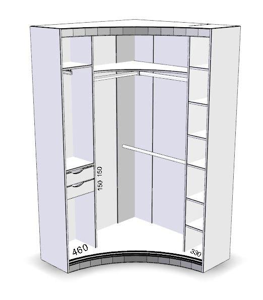 Угловой радиусный шкаф-купе 2